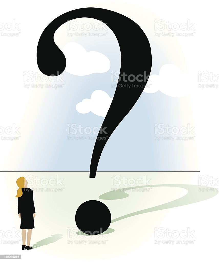 Woman with big questions royalty-free woman with big questions stock vector art & more images of 1920-1929
