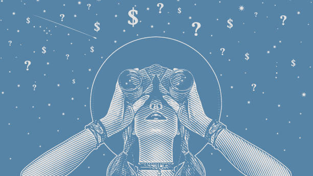 Woman with binoculars looking for solutions to financial uncertainty vector art illustration