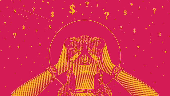 Woman with binoculars looking for solutions to financial uncertainty