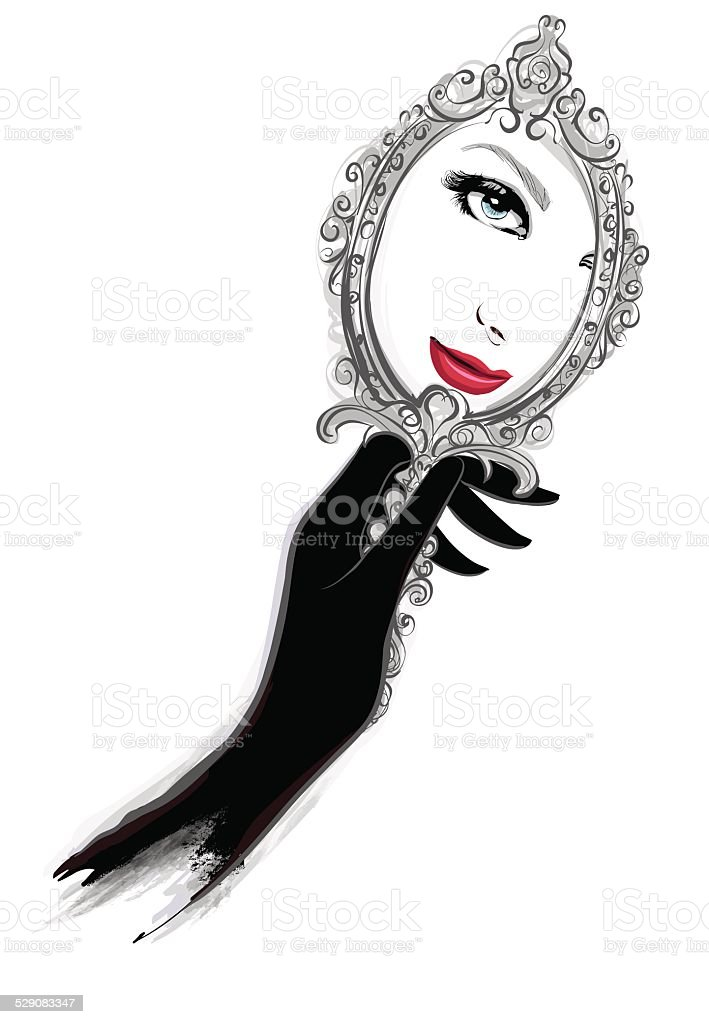 Woman with black gloves looking at a mirror vector art illustration