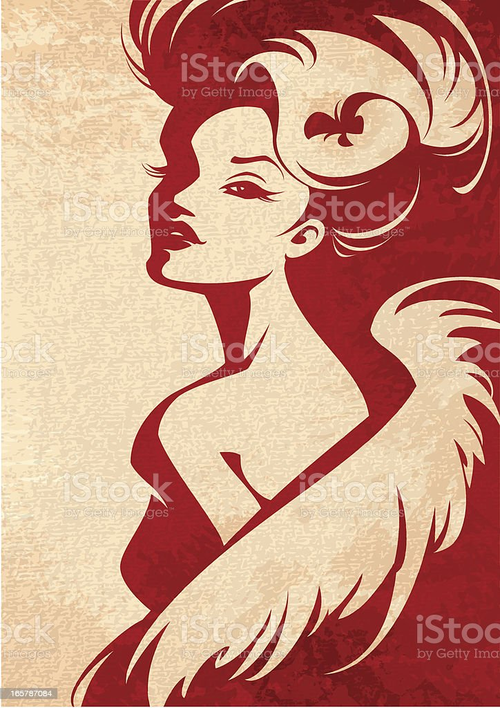Woman with Boa vector art illustration