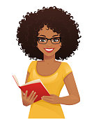Smiling beatiful woman with afro hairstyle holding book isolated vector illustration