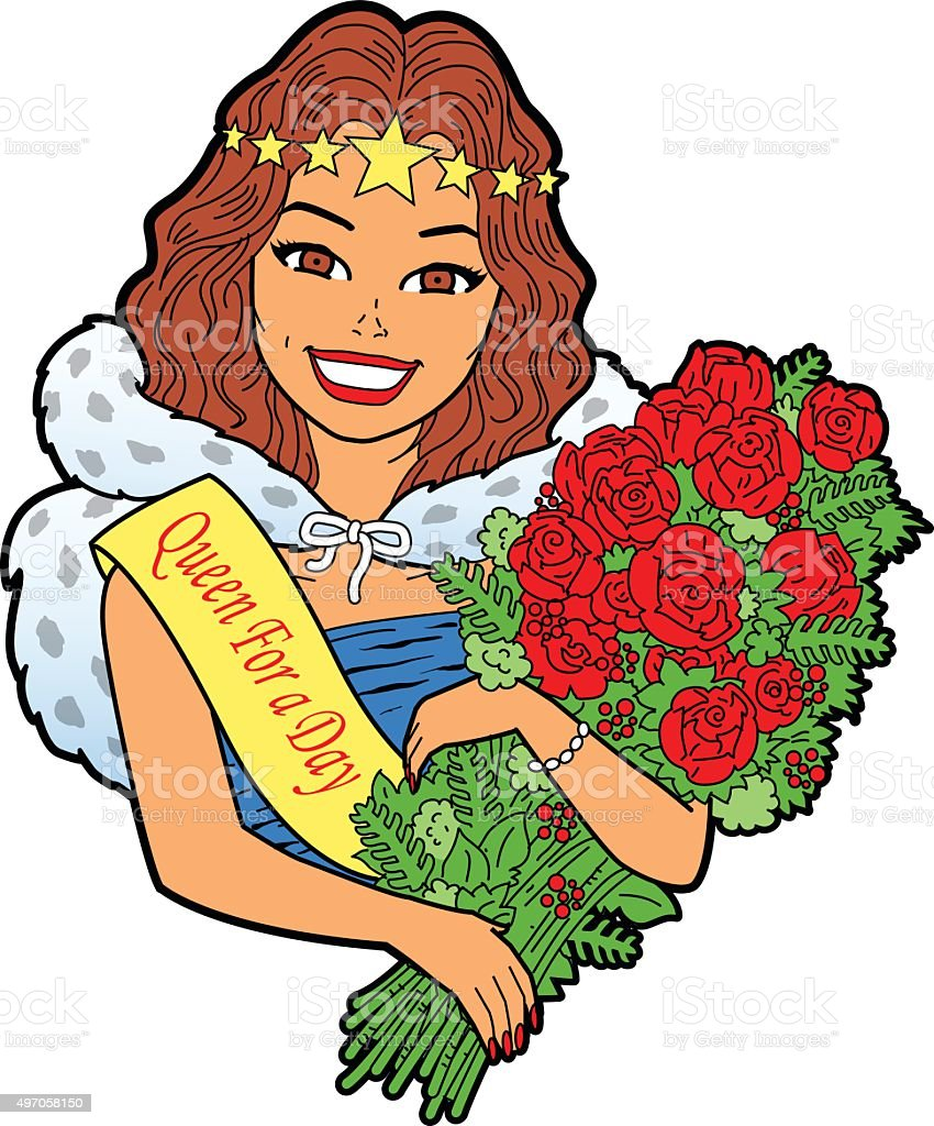 Woman With Bouquet vector art illustration