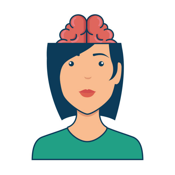 woman with brain avatar character woman with brain avatar character vector illustration design nerd hairstyles for girls stock illustrations