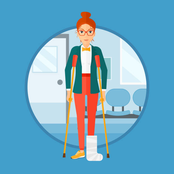 Woman with broken leg and crutches vector art illustration