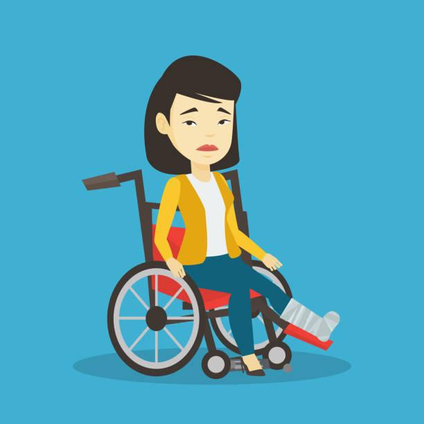 Woman with broken leg sitting in wheelchair vector art illustration