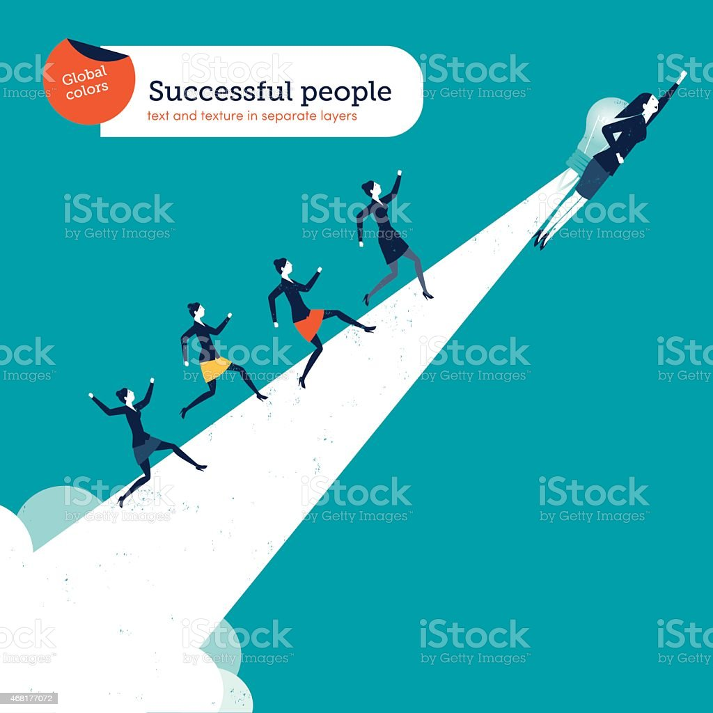 Woman with bulb rocket creating a path with businesswomen running vector art illustration