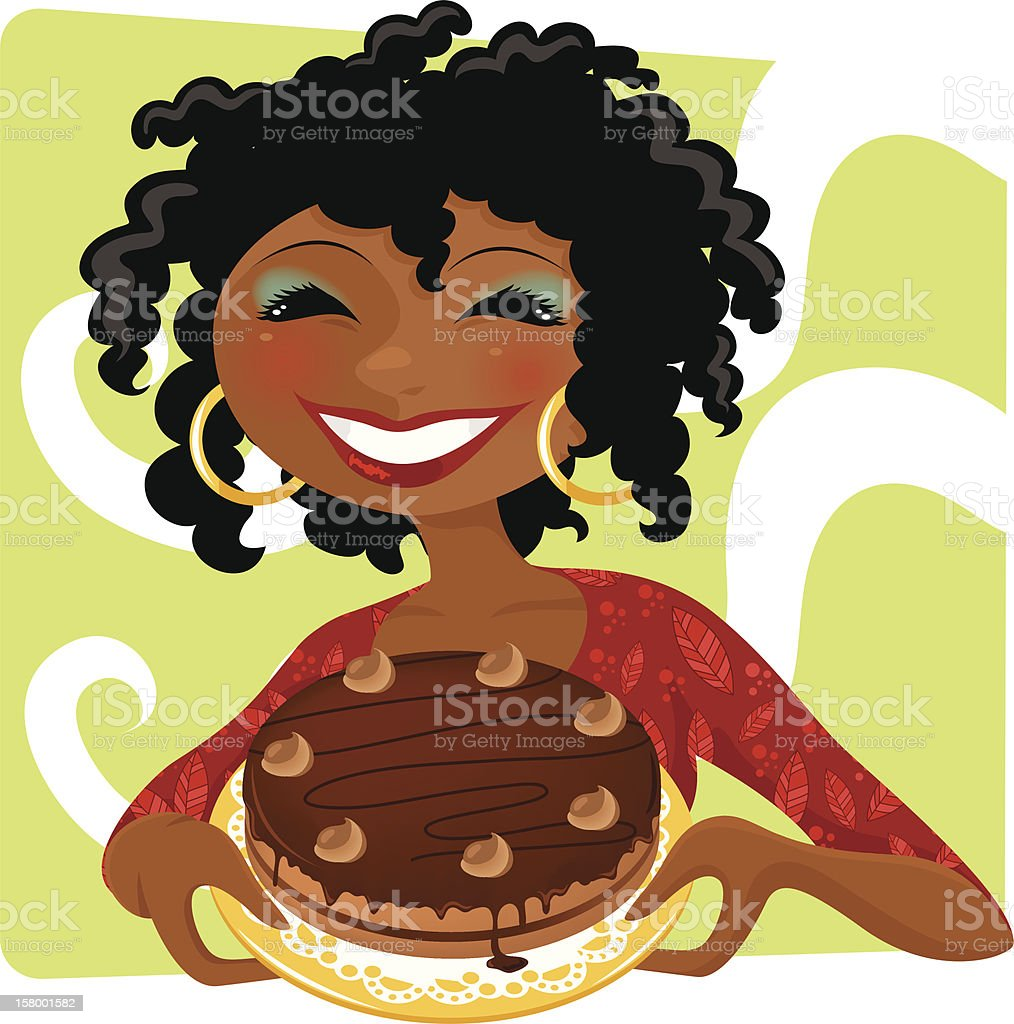 woman with cake vector art illustration