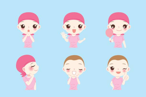 woman with cancer chemotherapy woman with cancer chemotherapy on the blue background headscarf stock illustrations