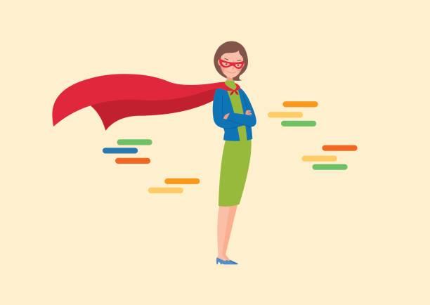 eine frau mit kap frau, ihre arme verschränkt. - superwoman stock-grafiken, -clipart, -cartoons und -symbole