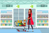 Woman with cart in supermarket vector illustration. Trolley full of healthy food flat clipart. Cartoon character grocery shopping in mall isolated design element. Consumer buying goods. Dairy product