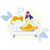 Woman with Cat Meditating Flat Vector Illustration. Owner and Pet Healthy Lifestyle. Girl Listening to Relaxing Music, Sitting in Lotus Position. Lady Practicing Yoga Concentrating Pose