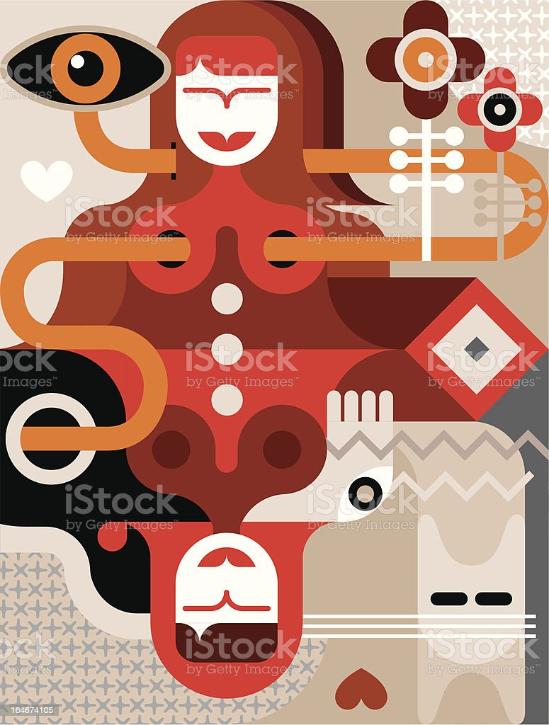 Woman with cat vector illustration royalty-free stock vector art