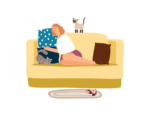 illustrazioni stock, clip art, cartoni animati e icone di tendenza di woman with cats on sofa - divano procrastinazione