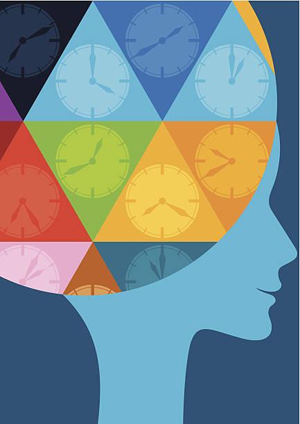 Kobieta z zegarem w jej głowie. – artystyczna grafika wektorowa