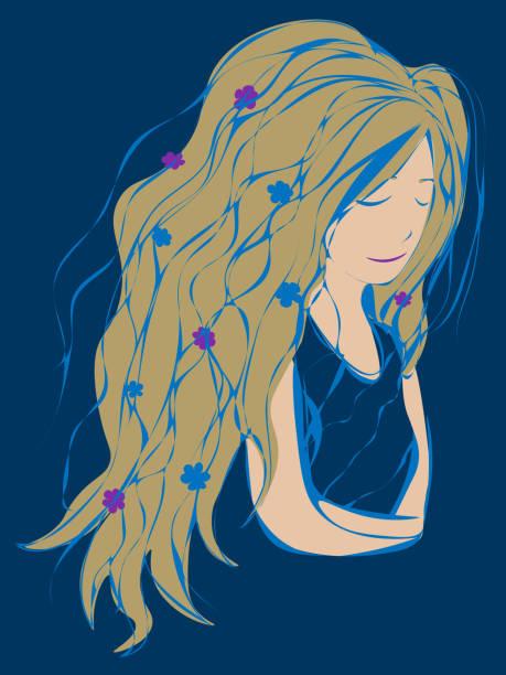 ilustrações de stock, clip art, desenhos animados e ícones de woman with closed eyes and flowers in long thick blonde hair hugging herself - mão no peito