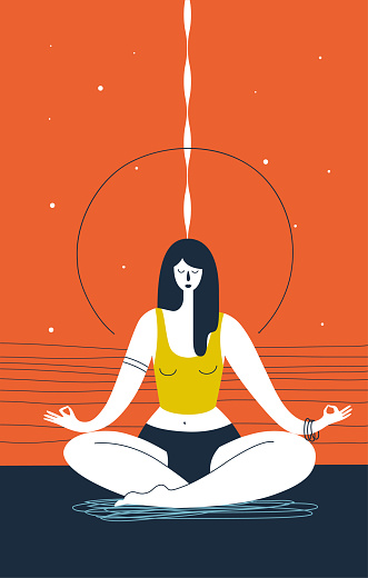 Woman with closed eyes does yoga exercise and meditates against abstract orange background. Concept of zen, serenity and meditation. Vector illustration for website, banner, poster, print, postcard