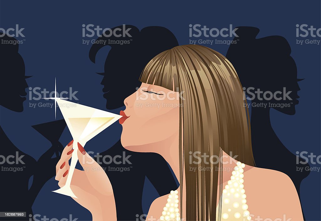 Woman with cocktail vector art illustration