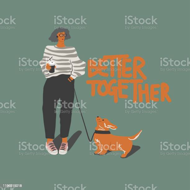 Woman with coffee cup and corgi dog freehand drawing quote better vector id1196515018?b=1&k=6&m=1196515018&s=612x612&h=druot 40jno 6khqszjdm2psffwrniakghveu7vndo0=