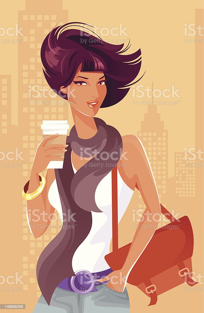 Woman with coffee cup. vector art illustration