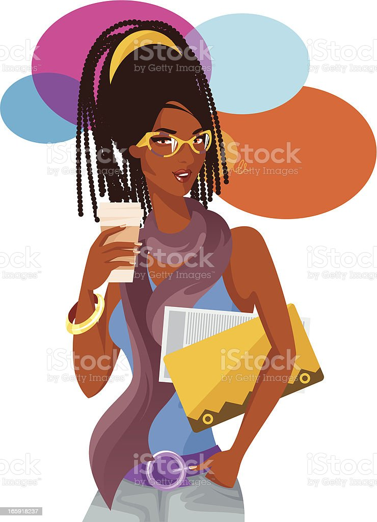 Woman with coffee cup. royalty-free stock vector art
