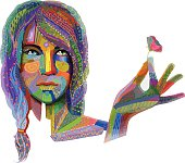 Woman with colorful texture vector on whiteWoman with colorful texture vector on white
