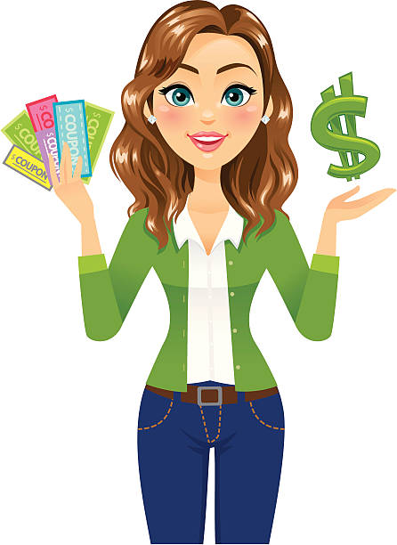 Woman with Coupons and Dollar Sign A woman in green excited about coupons and saving/making money. heyheydesigns stock illustrations
