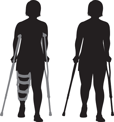 Woman with Crutches Silhouette