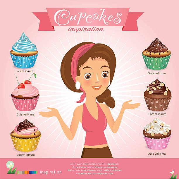 woman with cupcakes set vector illustration vector art illustration