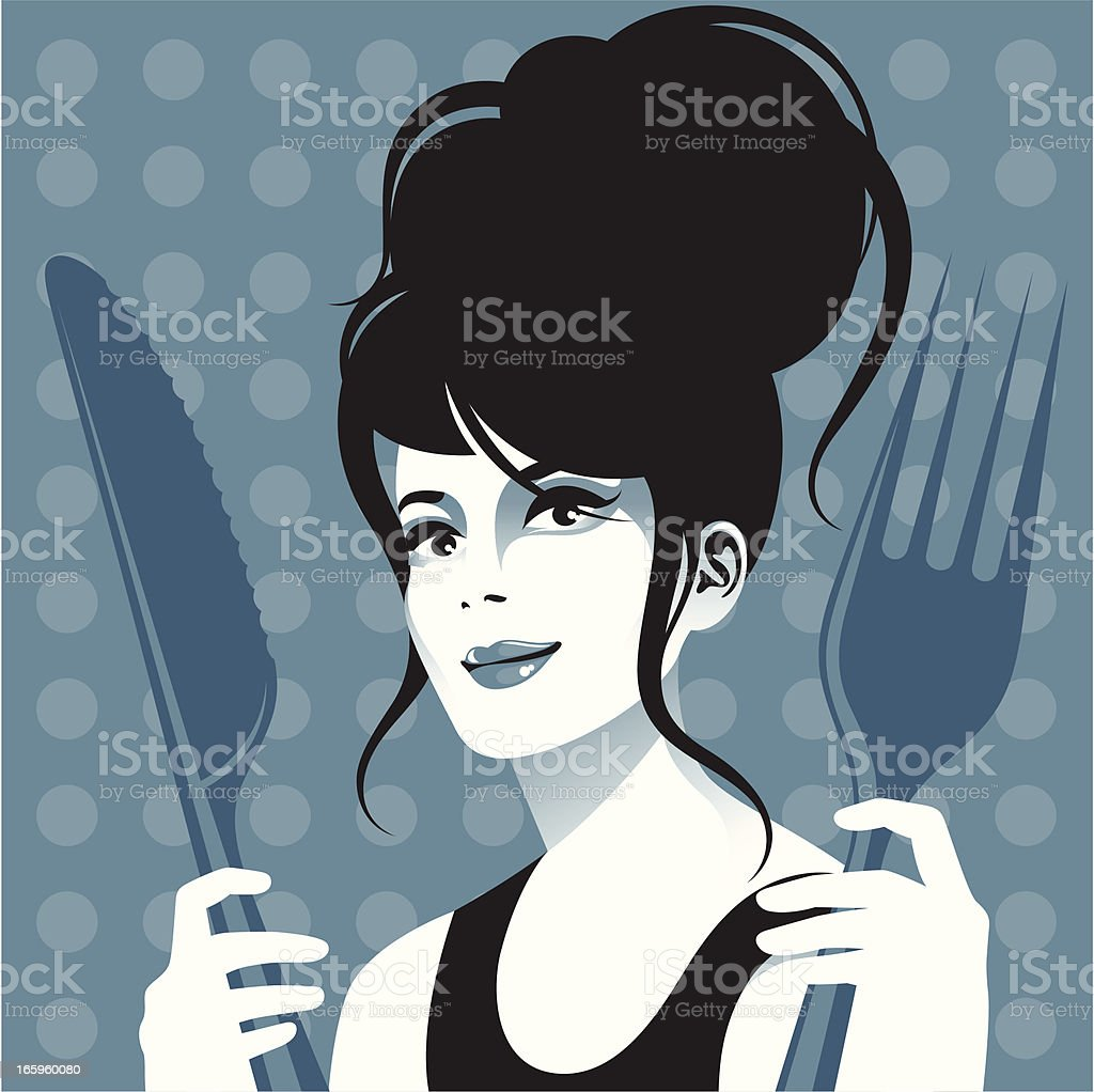 Woman with cutlery. royalty-free stock vector art