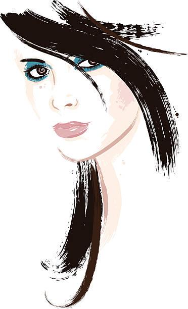 Woman with dark brown hair vector art illustration