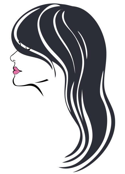 Woman with dark long hair vector art illustration