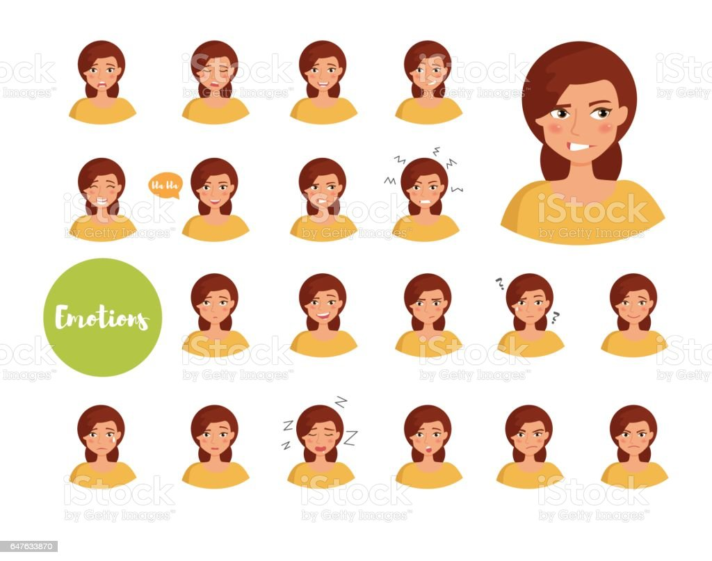 Woman with different emotions vector art illustration