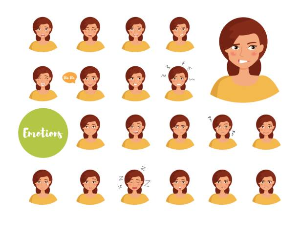 Woman with different emotions Woman with different emotions. Joy, sadness, anger, talking, funny, fear, smile. Set Isolated illustration on white background Vector Cartoon Flat Face expressions displeased stock illustrations
