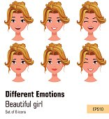Woman with different face expressions. Young attractive blonde girl with various emotions. Cute business woman. Set of six vector illustrations.