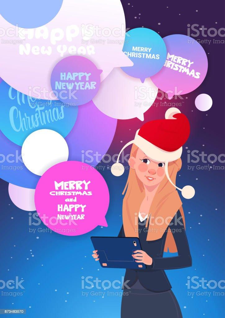 Frau Mit Digitaltablette Nachrichten Mit Frohes Neues Jahr Und Frohe ...