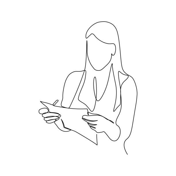 kobieta z dokumentem w rękach - lineart stock illustrations