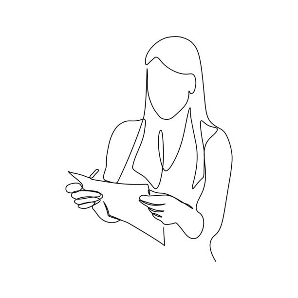 Woman with document in hands Woman with paper document in hands in continuous line art drawing style. Businesswoman minimalist black linear sketch isolated on white background. Vector illustration one person stock illustrations