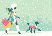 Vector illustration of a beautiful woman with shopping bags and dog with coat. Pink version included (high-res-.jpgs and .eps8-files of both color versions):