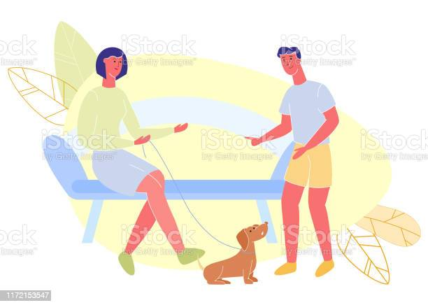 Woman with dog on leash sits on bench talking guy vector id1172153547?b=1&k=6&m=1172153547&s=612x612&h=0mbd7r76u8ageby8a4uozmnofpbdkvxtjcuceg578xk=