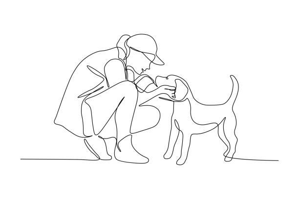 illustrations, cliparts, dessins animés et icônes de femme avec le crabot - femme seule s'enlacer