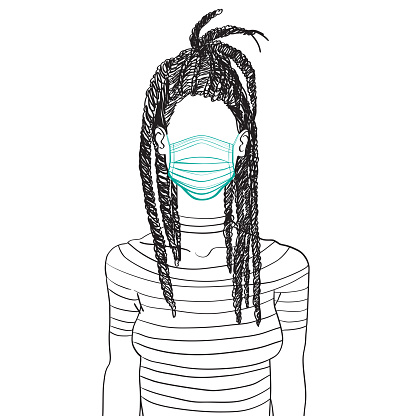 Woman with dreadlocks and medical mask doodle avatar