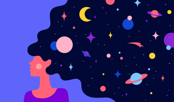 Woman with dream universe. Simple character of woman Modern flat character. Woman with dream universe. Simple character of woman girl with universe starry night in hair. Woman character in dream. Concept in flat color graphic. Vector Illustration space stock illustrations