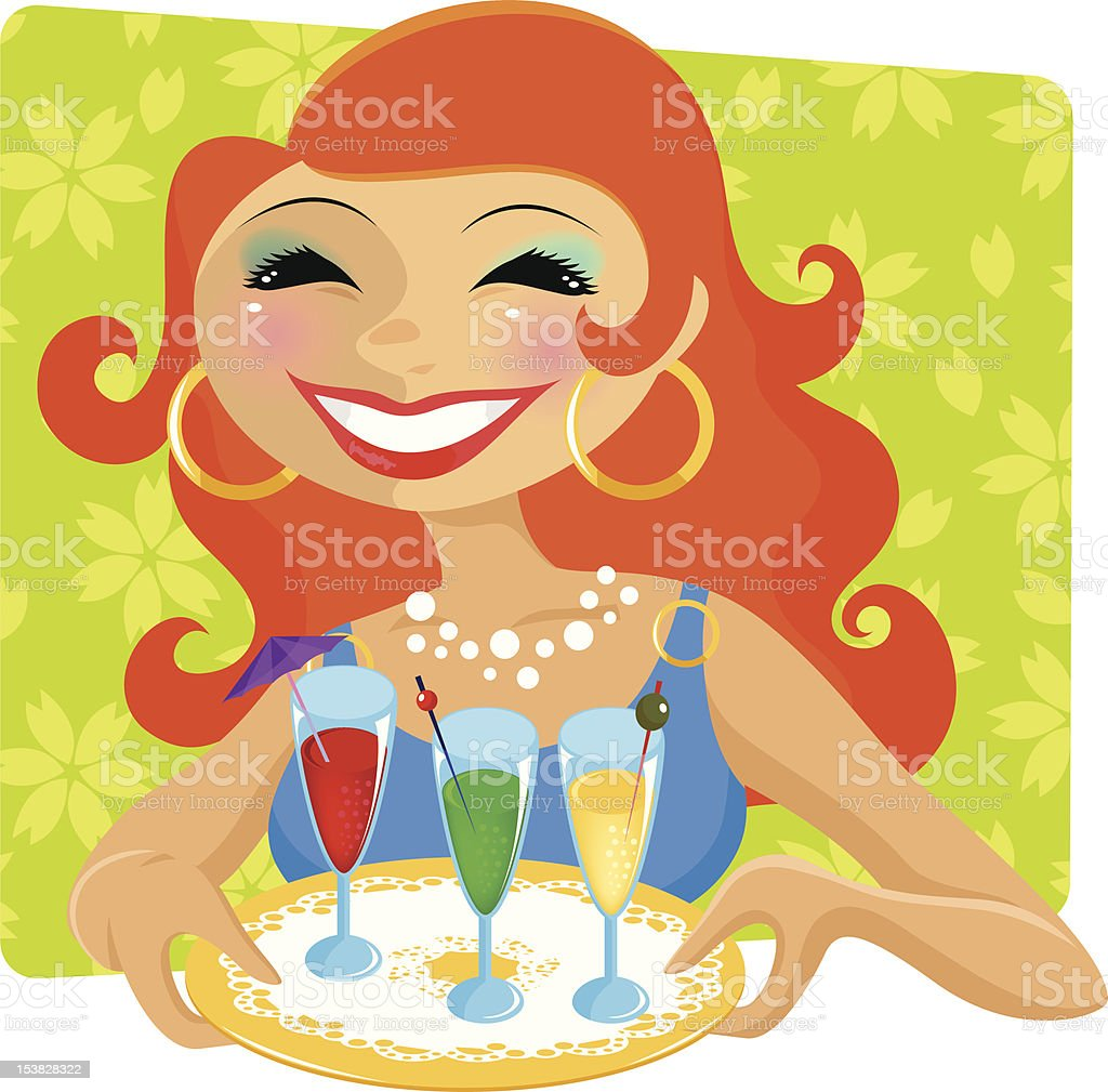 woman with drinks royalty-free stock vector art