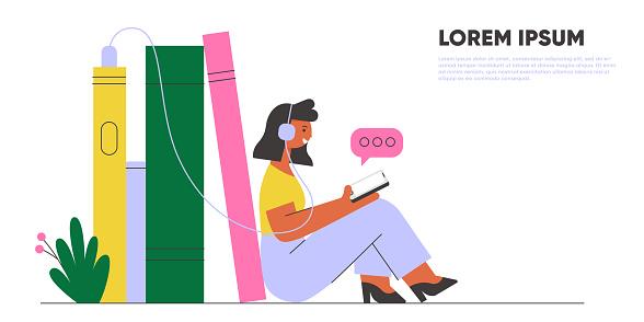 Woman with earphones listening audiobook. Online library banner.