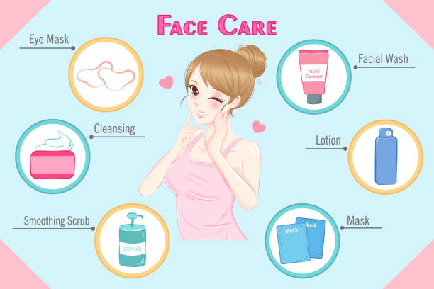 woman with face care vector art illustration