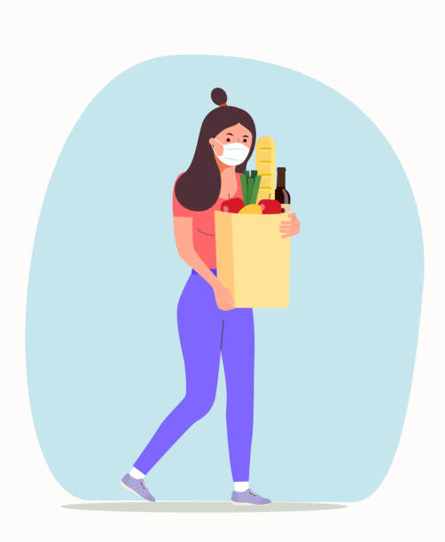 Woman with face mask holding grocery bags. Vector flat style illustration. vector art illustration