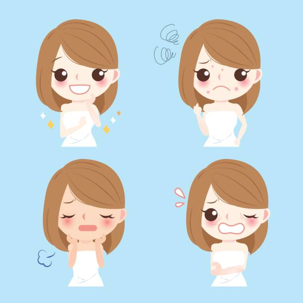 woman with face problem vector art illustration