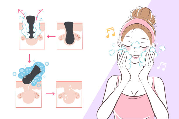 woman with facial clean concept vector art illustration