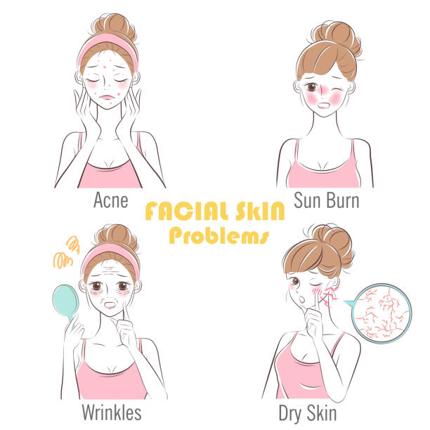 woman with facial skin problems vector art illustration